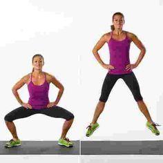 une femme qui exécute le squat jump