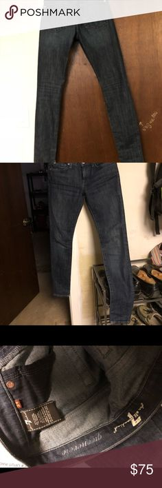 Seven for All Mankind skinny jeans, very dark wash Size 24, only worn a couple of times, & like new condition, very dark wash, pics show the pocket style & zip fly 7 For All Mankind Jeans Skinny