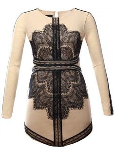 Pencil Long Sleeve Bodycon Dress with Contrast Lace Panel O Neck S-Large