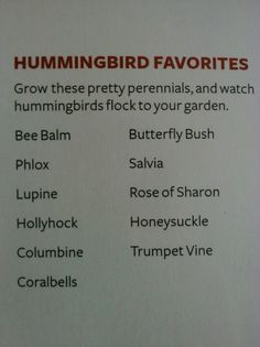 ~List of flowers that attract hummingbirds~