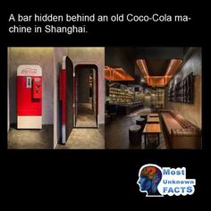 In Shanghai you will find a nondescript sandwich shop called The Press where behind an old Coke machine you will find a bustling speakeasy. Shanghai Food, Coke Machine, Speakeasy Bar, Soda Machines, Loft Design, Concrete Floors, French Door Refrigerator, Restaurant, Architecture