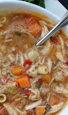 Sicilian Chicken Soup--- pretty good! I wouldnt add noodles if you plan on storing it in the fridge.