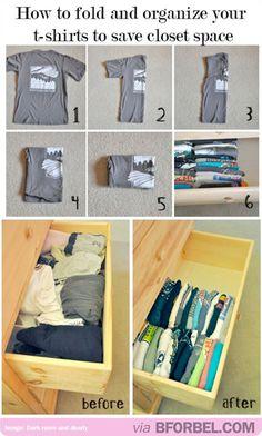 How to Fold T-Shirts   Organization Hacks for Closet Space by DIY Ready at  http://diyready.com/organization-hacks-diy-storage-ideas/