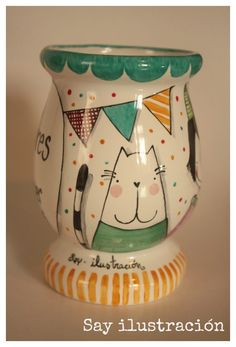 Mate Pintado a mano • Piezas únicas SAY ilustración Hand Painted Pottery, Pottery Painting, Diy Painting, Painted Flower Pots, Painted Pots, Cactus Clipart, Paper Mache Bowls, Cement Crafts, Decoupage Art