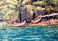 Luis Álvarez de Lugo ''Pescadores'' Landscape Paintings, Tropical, Angler Fish, Artists, Canisters, Ranch, Landscape, Landscape Drawings