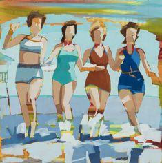 Signe & Genna Grushovenko - Four Frolicking Black Molding, Beach Bum, Haha Funny, Figurative Art, Archive, Coast, Body Language, Portrait, Abstract