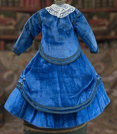 Antique Original French Blue Velvet Dress Costume Gown for Huret from respectfulbear on Ruby Lane