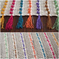 Crochet: colcha tejida en punto pompón!  Por detrás parece un pasacintas  Video del paso a paso!