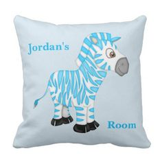 Kid's Pillow Cute Blue Baby Zebra - home gifts ideas decor special unique custom individual customized individualized