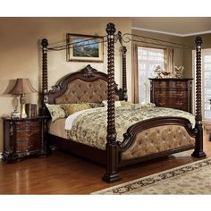 Furniture of America Kassania Luxury 2-piece Poster Canopy Bed with... ($2,500) ❤ liked on Polyvore featuring home, furniture, beds, brown, queen canopy bed, california king canopy bed, king canopy bed, king bed and king headboard