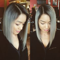 Asians with silver hair. Long bob and fashion silver.   Stylist: Sun Mee at The Collage on first, Seattle WA