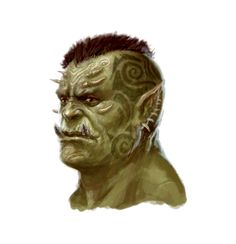 Male Orc Barbarian Portrait - Pathfinder PFRPG DND D&D 3.5 5th ed d20 fantasy