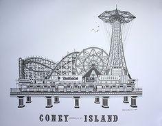 NYC Coney Island Litho Print in Black & White Signed by Artist - Unframed Litho Print, Coney Island, Nyc, Black And White, Artist, Travel, Viajes, Black N White, Black White