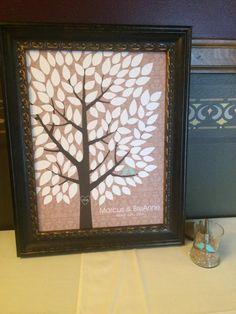 Antique Damask Wedding Tree Print | Guest Book Alternative | Rustic Wedding | Customer Photo | Wedding Color - Mint | peachwik.com