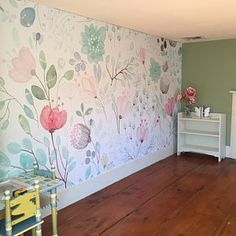 Oriental Ink Painting Wallpaper Wall Mural, Flowers Birds Theme Wall Art for Bedroom Living Room, Spring Floral Tree Wall Decor Wall Decor