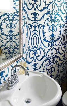 Lovin this wallpaper for the bathroom