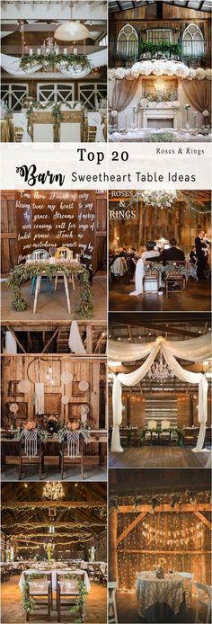 rustic country wedding ideas - barn wedding swetheart table ideas #weddings #countryweddings #barnweddings #barn #weddingreception ❤️ http://www.rosesandrings.com/barn-sweetheart-table-decor-ideas/ #rusticweddingdecorations