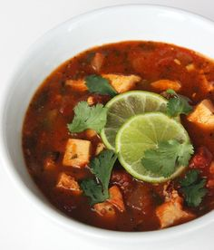 "A spicy, low-carb ""tortilla"" soup that's ready in 20 minutes? It's so packed with protein that you won't need to think about eating anything until dinnertime."