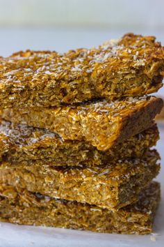 Oil free, low fat and full of of fiber Banana pumpkin bread bars are thick and chewy and ready to kill that sweet tooth