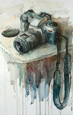 ideas for beautiful art drawings sketches perspective Art Inspo, Inspiration Art, Art And Illustration, Art Amour, Camera Art, Camera Painting, Camera Drawing, Camera Icon, Camera Hacks