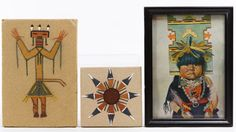 Lot 155: Native American Photograph, Print and Sand Artwork Assortment; Four items including photograph of a Native American male in full feather headdress, a print of a child and two sand art tiles