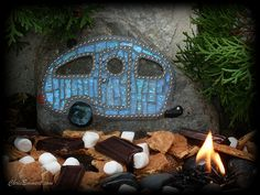 """S'more Camping"" Mosaic Caravan on Rock - Garden Stone 