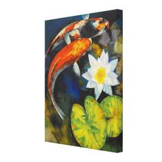 Koi Fish and Water Lily Canvas Prints by Mozaix $149.80