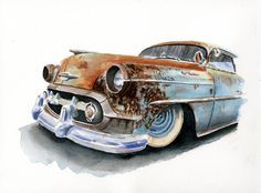 Like Hot rods and rat rods? Check out these hot rod paintings based on a photograph from Viva Las Vegas of a rusty Chevy rat rod with patina galore. Carros Retro, Vintage Cars, Antique Cars, Chevy, Rusty Cars, Car Illustration, Car Drawings, 1957 Chevrolet, Automotive Art