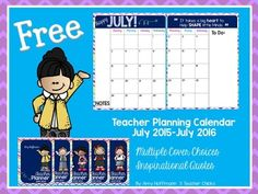 Updated June 2015: Score!  You just got your hands on a stylish organizational tool so you never forget an important date!Use this freebie in your teacher binder or take it to Office Max and get it bound with other important papers you need at hand!This lovely calendar has room for notes and reminders and comes with six different cover choices.If you download this freebie, please pin it and give me some feedback!