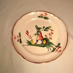 19th Century French Majolica Plate Medieval Man Strasbourg /246