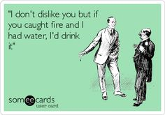 """""""I don't dislike you but if you caught fire and I had water, I'd drink it"""""""