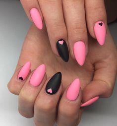 Unique Pink Black Matt Summer Nail Art