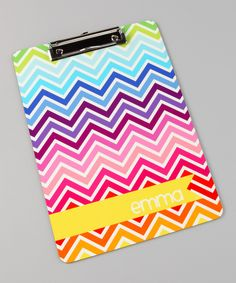 love this schooltime acessory! Chevron Personalized Clipboard by Lima Bean Kids on #zulily