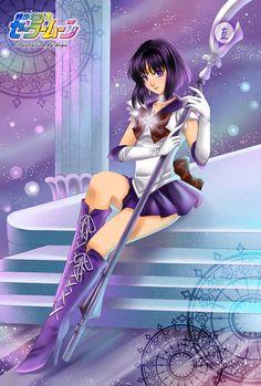 sailor saturn and tomoe hotaru (bishoujo senshi sailor moon) drawn by koya - Danbooru Sailor Moon S, Sailor Saturn, Purple Boots, Moon Drawing, Moon Illustration, Sailor Collar, Purple Skirt, Entertainment, Infancy