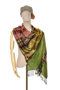 1dacc9e2a 100% Thai Silk Scarf Cashmere Pashmina Shawls Scarves Teal Elephant Green  Unisex #Handmade #
