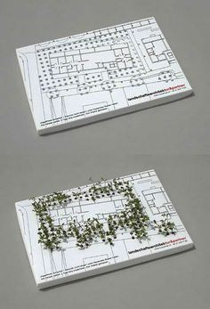 landscape architecture firm Tur & Partner. Add a little light and water to this seeded business card and in a couple days, you've got yourself a professionally landscaped miniature garden. Seeds embedded into the card sprout right through the holes in the plan printed on the card. This creative card was designed by Jung von Matt of Germany.
