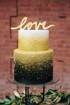 Black & #gold wedding cake | www.onefabday.com