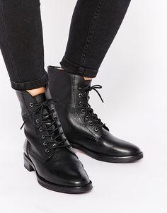 Image 1 ofASOS AERODROME Leather Lace Up Ankle Boots