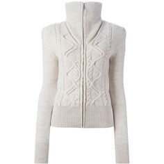 Isabel Marant 'Dixon' oversized collar cardigan ($840) ❤ liked on Polyvore featuring tops, cardigans, isabel marant cardigan, zip front top, white long sleeve top, white top et isabel marant