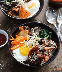 These Crispy Shrimp Bibimbap Bowls were inspired partly by Bonchon and my failed attempt in making Korean Spicy Squid.