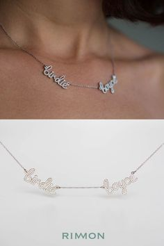 Fabulous solid 14K Gold and White diamonds double name necklace, The most popular and loved custom jewelry made just for you.