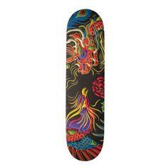 Yin Yang Phoenix and Dragon Skateboard Deck