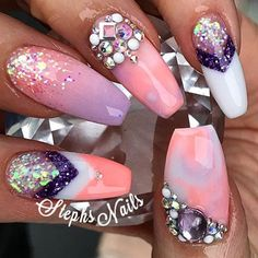 "SpringBeauties coral ""sunset paradise"" and ""lavender"" and glitter from Crazy Nails, Dope Nails, Fancy Nails, Bling Nails, Fabulous Nails, Perfect Nails, Gorgeous Nails, Pretty Nails, Acrylic Nails Stiletto"