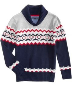 Tommy Hilfiger Fair Isle Shawl-Collar Cotton Sweater, Toddler Boys (2T-5T) - Blue 2T