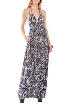 BCBGMAXAZRIA 'Kamala' Print Halter Maxi Dress