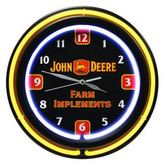 John Deere 14 12 Inch Double Neon Clock  Farm Implements Theme -- Learn more by visiting the image link.