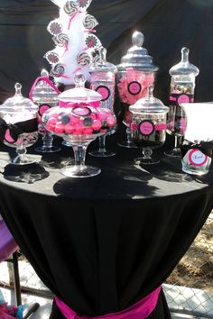 """candy buffet"" Sticking to 2 or 3 colors throughout your design/party theme can make a world of difference. Using black, white or red as one of your colors will also ensure you can reuse the linens/plates/candles/ribbons, etc. again throughout the year."