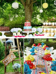 outdoor summer parties, with happy birthday on wood or chalk board