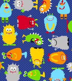 Anti-Pill Fleece Fabric Monster Bright Multi