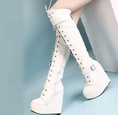 Fashion Women Lace Up Over Knee High Boots Platform Wedge Heel Casual Shoes D539
